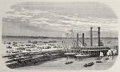 Antique illustration of landing stage at Omaha, beginning point of Union Pacific railroad. Original,