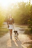 Cute Young Girl And Dog Walk In Autumn Park. Dog Is Spotted, Hunting, Fold And Short-legged. Girl In poster