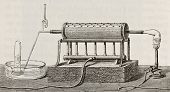 stock photo of decomposition  - Old schematic  illustration of laboratory apparatus for water decomposition by iron - JPG