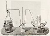 Old schematic  illustration of laboratory apparatus for oxygen production. Created by Laplante and J