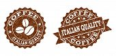 Italian Quality Rubber Stamps. Vector Seals In Chocolate Color With Round, Ribbon, Rosette, Coffee B poster
