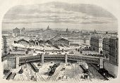 pic of gare  - Antique illustration of iron bridge upon place de l - JPG
