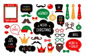 Christmas Photo Booth Props. Santa Hat And Beard, Elf Hat, Deer, Snowman, Candy, Mustache, Lips. Spe poster