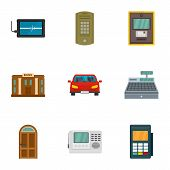 Secured Finance Icon Set. Flat Set Of 9 Secured Finance Icons For Web Design poster