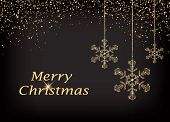 Merry Christmas Greeting Card With Hanging Golden Polygonal Snowflakes And Falling Golden Snow From  poster