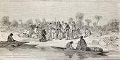 Постер, плакат: Старый иллюстрация людей на берегу реки Coribeni Перу Созданный Riou опубликованный на Le Tour du Mo