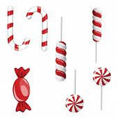Set Of Red And Green Candies. Hard Candy Lollipop. Candy Wrapped poster