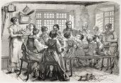 Old illustration of family meal in an Alsatian farm. Created bySchuler, published on L'Illustration