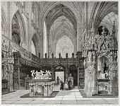 Old illustration of Brou monastery church interior, France. Created by Matthieu, published on Magasi