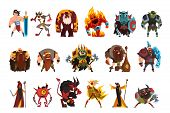 Fantasy Creatures And Humans. Orc, Warrior In Armor, Fire Monster, Snake, Viking, Giant, Wild Man. C poster