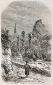 Old illustration of Elorn river and La Roche Maurice in background, Brittany, France. By unidentifie