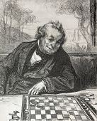 pic of draught-board  - Old illustration of a draughts player - JPG