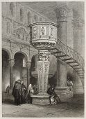 pic of messina  - Old illustration of marble pulpit in Messina cathedral - JPG