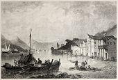 Постер, плакат: Видом на Старый город и порт Батти Итака Созданный Бентли и пески Опубликовано Il Mediterran