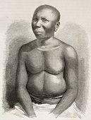 Jarawa man old engraved portrait, Andaman islands, Indian ocean. Created by Fath and Huyot after pho