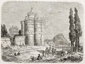 Dovecote old illustration, Isfahan surroundings, Iran. Created by Laurens, published on Le Tour du M