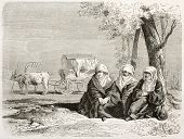 stock photo of ox wagon  - Albanian women old illustration - JPG