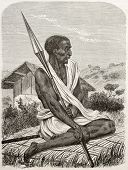Ugandan man old engraved portrait. Created by Boulanger after Burton, published on Le Tour du Monde,