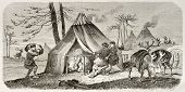 Tungusic encampment old illustration. Created by Adam after Sarytchew, published on Le Tour du Monde