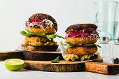 Gluten-free Vegan Burger Made From Portobello Mushrooms With Cutlets From Potato And Chickpea Flour poster