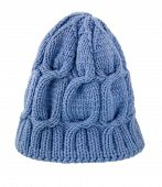 Knitted Hat, Winter Cap. Warm Wool Cap Handmade Blue On A White. poster