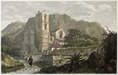 Santa Croce church old view, near Messina, Sicily. Created by De Wint and Cooke, printed by McQueen,