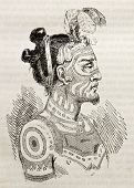 Marquesas islands King old engraved portrait. Created by Krusenstern, published on Magasin Pittoresq