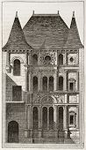 foto of poitiers  - Diane de Poitier house old illustration - JPG