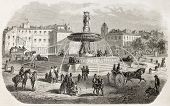 The round fountain old view, Aix-en-Provence, France. Created by Gaildrau after Gibert, published on