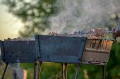 Natural Wood Fire For Bbq, Mangal Fire To Outdoor. Mangal Fire, Nature Fireplace, Nice Hd Real Fire. poster