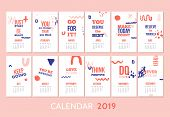 Monthly Modern Calendar Template Design With Motivational Quote Typography Design. Banner With Bold  poster