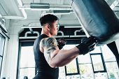 Side View Of Young Asian Sportsman Wearing Boxing Gloves And Punching Boxing Bag At Gym poster