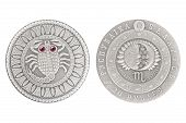 Scorpio Belarus Silver Coin 2009 Isolated White Background poster