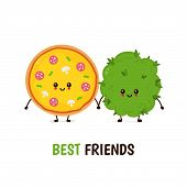 Funny Smiling Happy Marijuana Weed Bud And Pizza.vector Flat Cartoon Character Illustration Icon Des poster