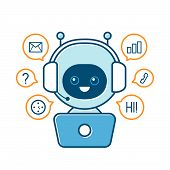 Cute Smiling Robot,chat Bot And Communication Signs.vector Modern Flat Cartoon Character Illustratio poster
