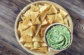 Guacamole With Tortilla Chips On The Wooden Tray poster