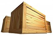 foto of wooden crate  - few wooden boxes on the plain background - JPG