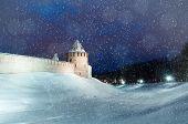 Winter Landscape - Novgorod Kremlin Fortress In Winter Night In Veliky Novgorod, Russia. Winter Land poster
