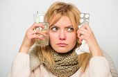 Getting Fast Relief. Ways To Feel Better Fast. Flu Home Remedies. Woman Wear Warm Scarf Because Illn poster