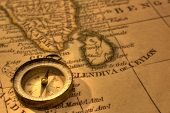 Ancient Compass And Map Of Southern India And Sri Lanka. Map Is From 1799 And Is Out Of Copyright. poster