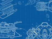 Technical Blue Background With Drawings Of Details And Mechanisms.engine Line Drawing Background. Ve poster