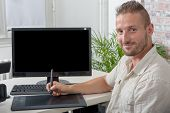Man Video Editor Using A Graphic Tablet poster