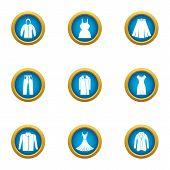 Light Clothing Icons Set. Flat Set Of 9 Light Clothing Icons For Web Isolated On White Background poster