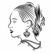 Vector Image Of The Head Of The Beautiful Spanish Girl. The Drawing Of The Proud Lady With A Gracefu poster