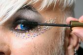 Im Addicted To Long Eyelashes. Transgender Man Apply Mascara. Male Makeup Artist. Transgender Man We poster