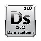 Darmstadtium Symbol.chemical Element Of The Periodic Table On A Glossy White Background In A Silver  poster