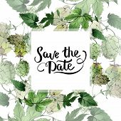 Hops. Green Leaf. Frame Border Ornament Square. Save The Date Handwriting Monogram Calligraphy. poster
