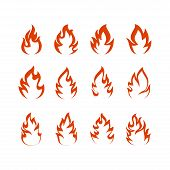 Collection Fire Icons, Vector Fire, Fire Icon Eps10. Fire Icon Flat, Fire Icon App, Fire Design Vect poster