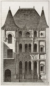 picture of poitiers  - Diane de Poitier house old illustration - JPG