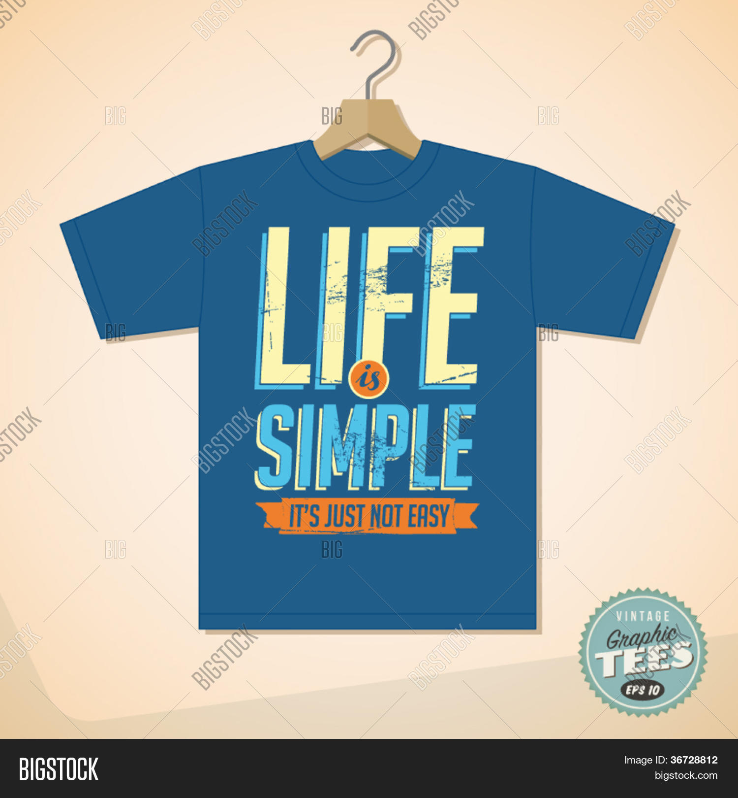 Design t shirt easy - Vintage Graphic T Shirt Design Life Is Simple It S Not Just Easy